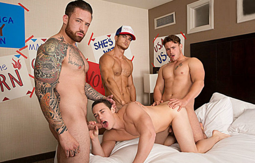 Trevor Long, Evan Marco and Jordan Levine gangbang Tobias at Bromo.com