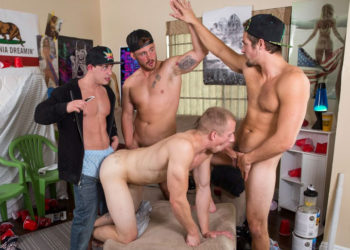 Cumdump Johnny Cohen takes three raw cocks up his ass at Reality Dudes