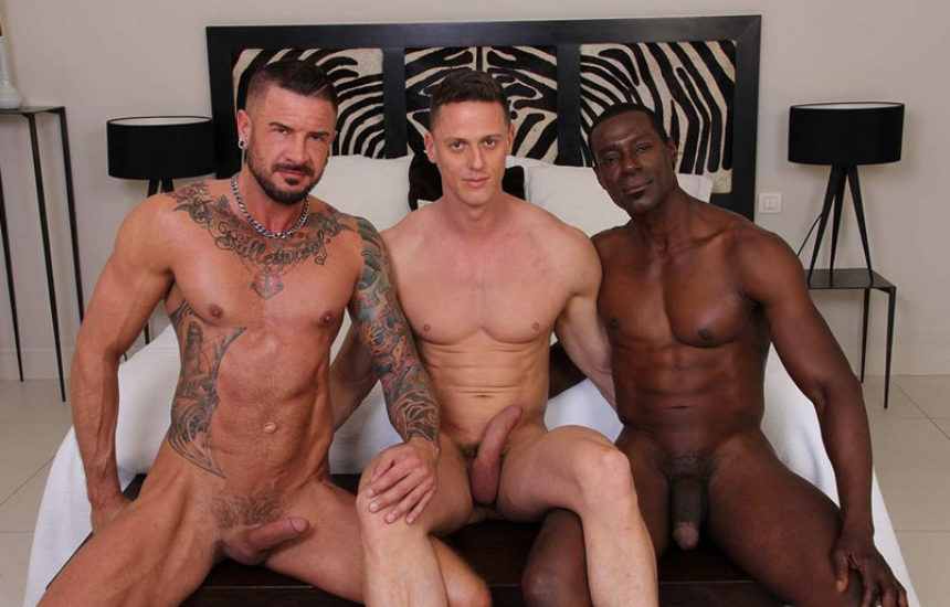 Dolf Dietrich, Ivan Gregory and Titan Tex in a bareback threesome from Kristen Bjorn