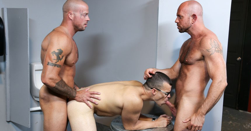 "Sean Duran, Jason Barr and Matt Stevens fuck in ""Glory Hole Birthday Surprise"""