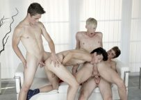 Andy Scott, Camil Chaton, Kris Blent and Simon Caress in a hot bareback foursome