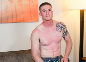 Muscular soldier Nathan Vine jerks his hard cock and blows a load at Active Duty