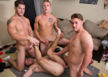 Ashton McKay, Trevor Long and Zane Anders raw-fuck Brandon Evans at Reality Dudes