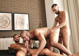 Louis Ricaute gets fucked by Fostter Riviera and Rodolfo and swallows their cum loads