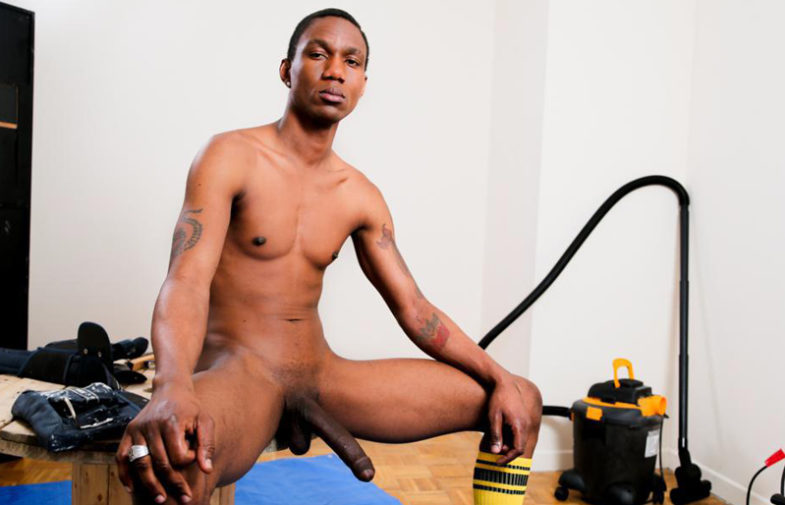Ray jerks his enormous black dick and drops a creamy load for Next Door World