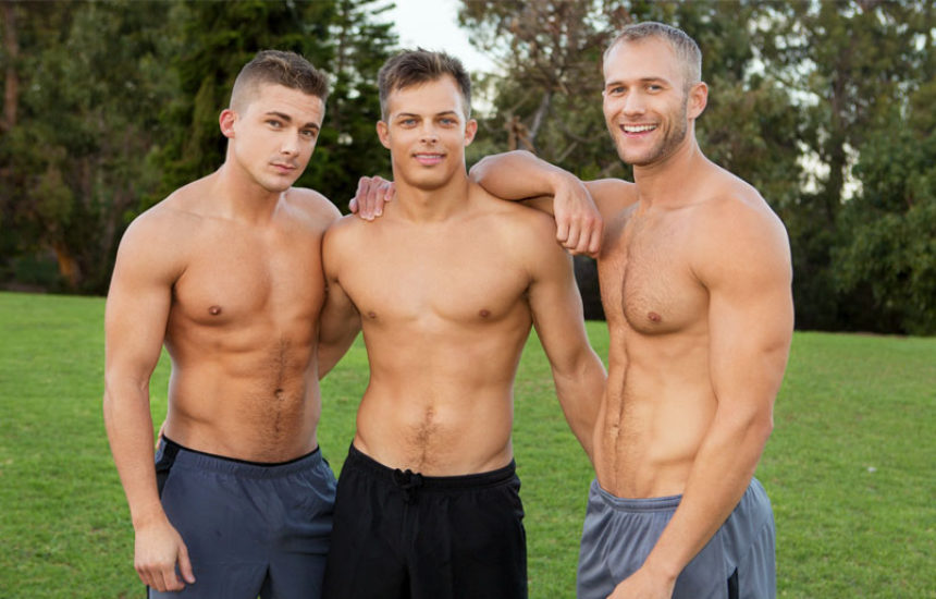Muscle jocks Blake, Jayden and Porter in a bareback threeway from Sean Cody