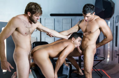 "Jay Roberts, Colby Keller and Kaden Alexander fuck in ""Star Wars"" part six from Men.com"