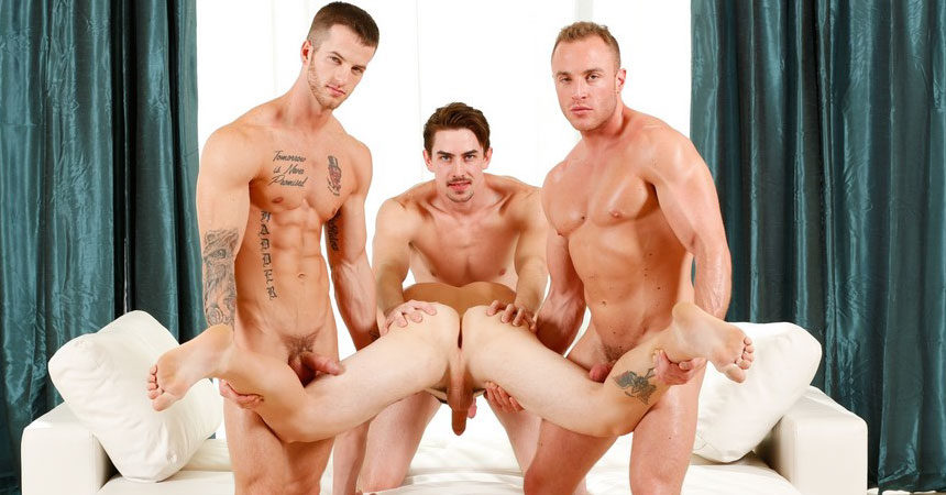 "Quentin Gainz, Johnny Riley, Jack Hunter & Jacob Durham in Next Door Studios' ""Meet The Fuck Buddies"""