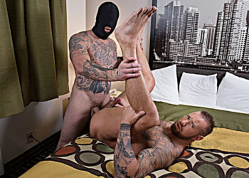 """Michael Roman takes a hard pounding from Gage Unkut in """"Anon Breeder"""" part one from Bromo"""
