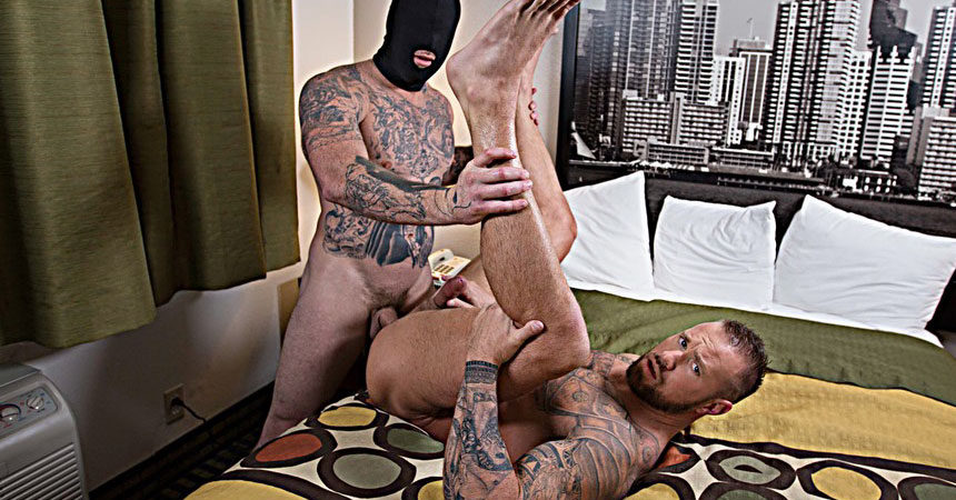 "Michael Roman takes a hard pounding from Gage Unkut in ""Anon Breeder"" part one from Bromo"