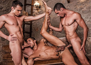 Javi Velaro, Alex Kof and Ibrahim Moreno in a bareback threesome for Lucas Entertainment