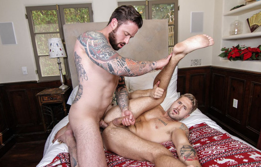 "Jordan Levine fucks Wesley Woods in ""Ghosts of Christmas"" part two from Men.com"