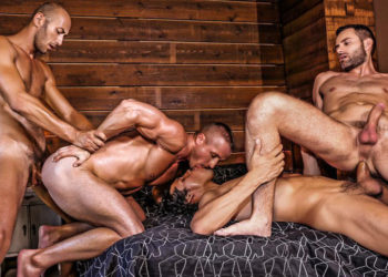 Alejandro Castillo, Wolf Rayet, Dominic Arrow & Denis Sokolov fuck at Lucas Entertainment