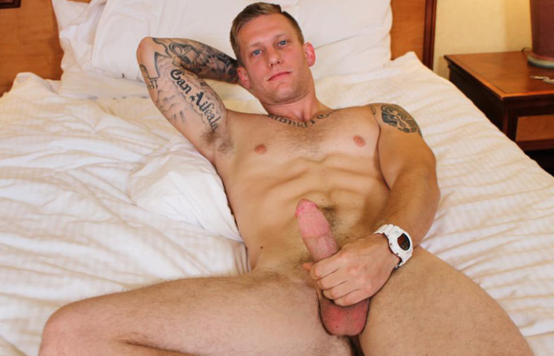 Active Duty introduces new recruit Tex Long, who strokes his fat cock