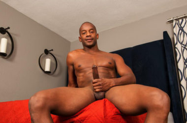 Tall and handsome stud Jermaine strokes his big black cock for Sean Cody