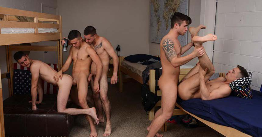 Five hot college boys suck and fuck each other while filming at Reality Dudes