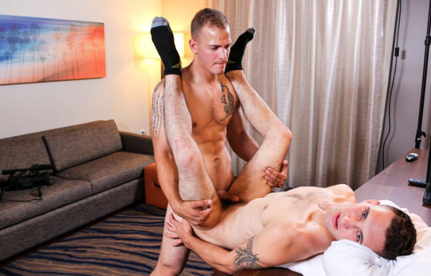 Sexy recruit Scott Millie gets his bare ass fucked by Chase at Active Duty