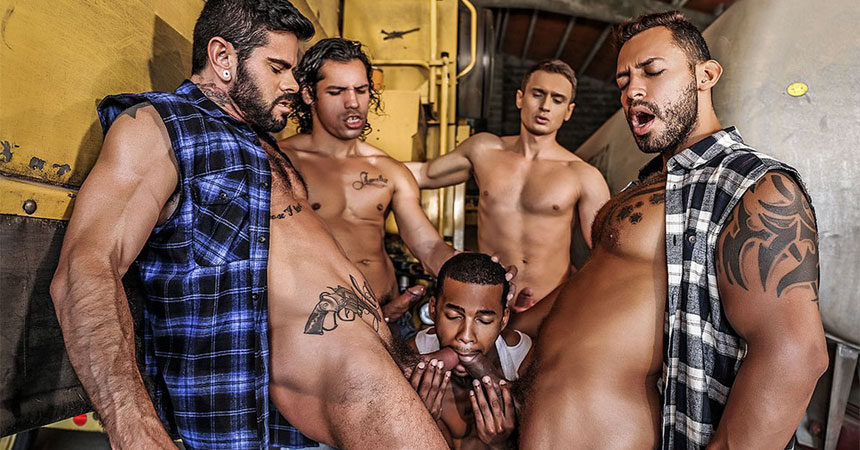 Jacen Zhu takes four big raw cock in a Lucas Entertainment gang bang release