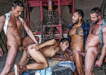 Viktor Rom, Alex Kof and Bulrog raw-fuck Ken Summers at Lucas Entertainment