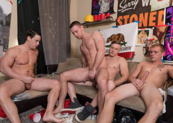 Zane Anders, Tobias and Tom Faulk take turns fucking Brandon Evans at Dick Dorm