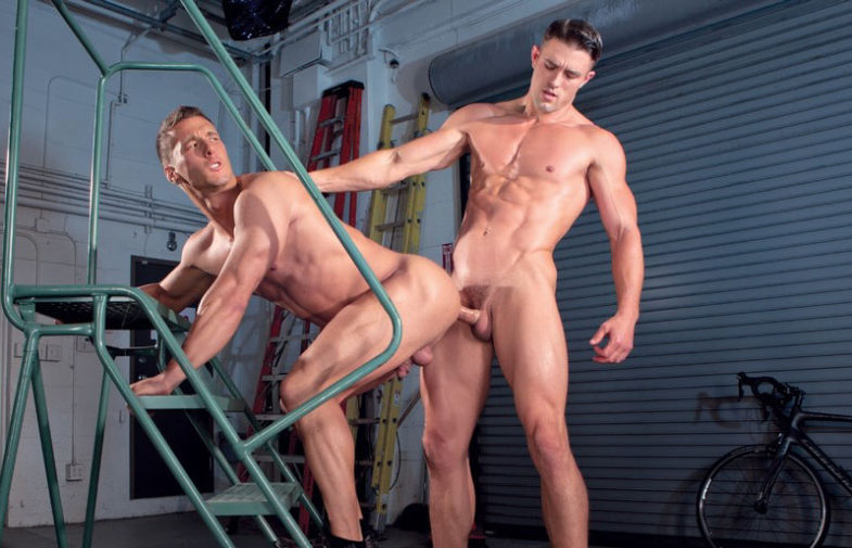 """Hung muscle top Ryan Rose fucks Rod Peterson in """"Urban Spokes"""" part 1 from Falcon Studios"""