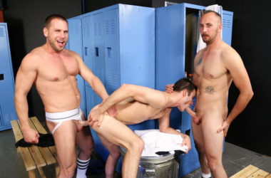 "Hans Berlin, Dustin Steele and Cameron Kincade fuck in ""First Time 3-Way"" from Pride Studios"