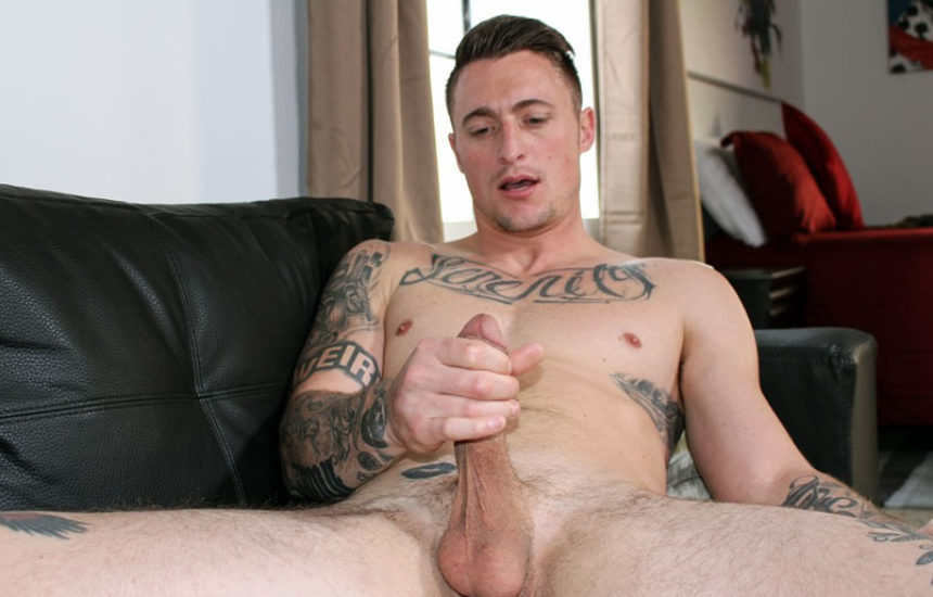 Handsome new recruit Dane Stewart strokes his big cock for Active Duty