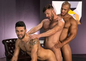 """Bruce Beckham, Jason Vario and Mick Stallone fuck in """"Object of Desire"""" part one from Raging Stallion"""