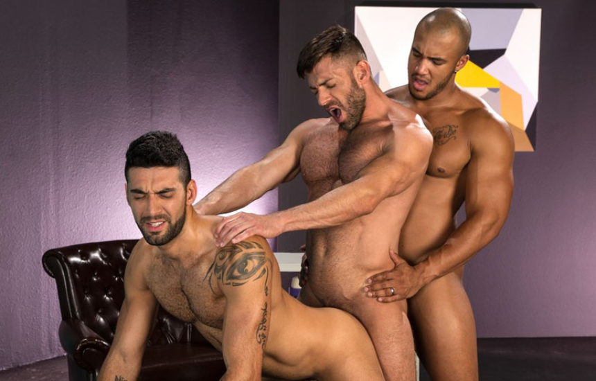 "Bruce Beckham, Jason Vario and Mick Stallone fuck in ""Object of Desire"" part one from Raging Stallion"
