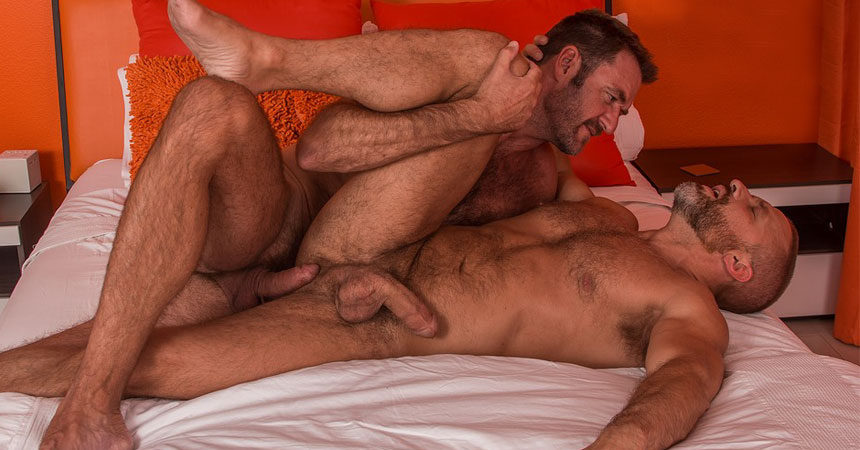 "Hot daddies Dirk Caber and Anthony London flip-fuck in ""2 Men Kiss"" part three"