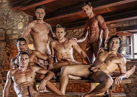 Ibrahim Moreno gets double penetrated in a hot bareback orgy from Lucas Entertainment
