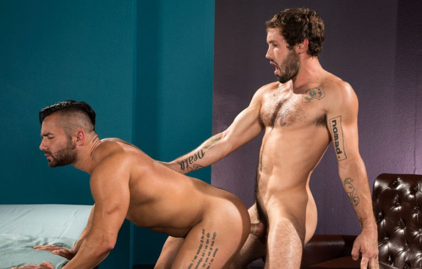 "Jeff Powers manhandles Bruno Bernal in ""Object of Desire"" part two from Raging Stallion"