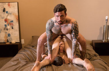 """Jordan Levine fills Buck Richards up with raw cock in """"Big Dicked Bitch"""" from Bromo"""