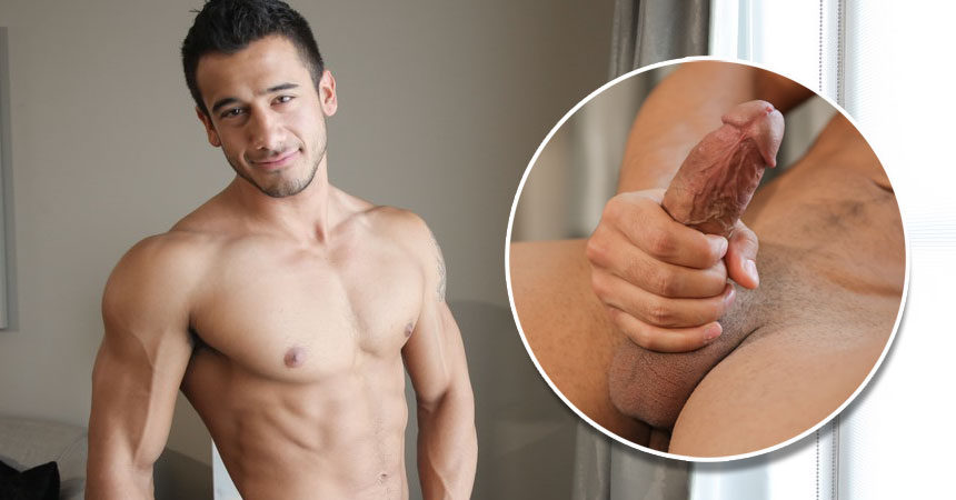 Sexy newcomer Kayden Andrews plays with his throbbing cock for Next Door Studios