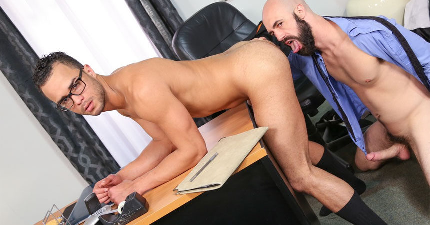 """Lex Ryan rims and fucks Javier Cruz in """"My Assistant is a Porn Star"""" from Pride Studios"""