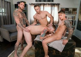 "Gunner Canon, Tom Faulk, Brandon Evans and Gage Unkut fuck in ""Raw Renters"" from Bromo"