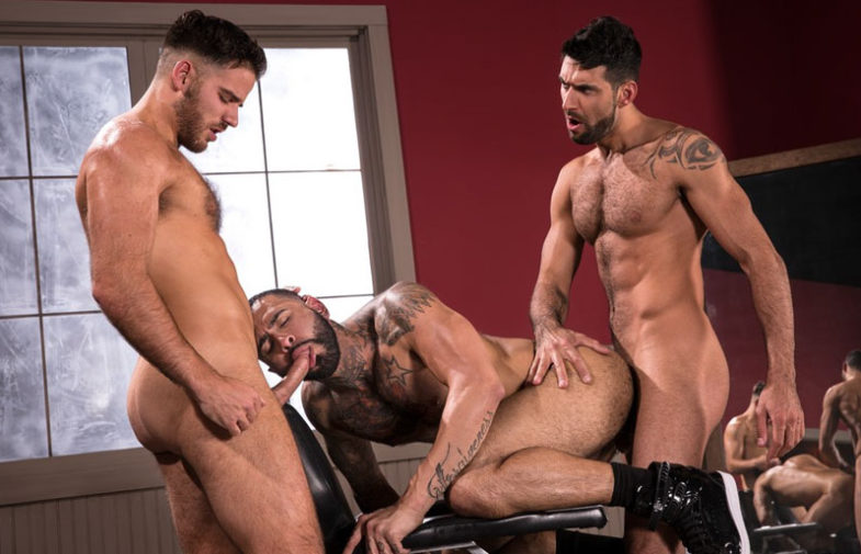 "Rikk York, Mick Stallone & Jackson Grant fuck in ""High n' Tight"" part one from Raging Stallion"