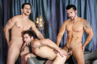 "Jimmy Durano and Roman Todd fuck Griffin Barrows in ""Heartbreakers"" part one from Men.com"
