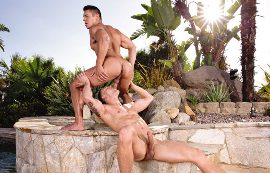 Ryan Rose and Seth Santoro cum in each other's mouths and snowball at Falcon Studios