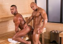 """Muscle hunks Sean Zevran and Micah Brandt flip-fuck in """"Bathhouse Ballers"""" part four"""