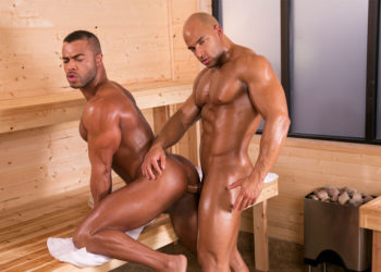 "Muscle hunks Sean Zevran and Micah Brandt flip-fuck in ""Bathhouse Ballers"" part four"