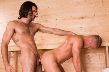 "Muscle bottom Johnny V takes Woody Fox's big dick in ""Bathhouse Ballers"" part three"