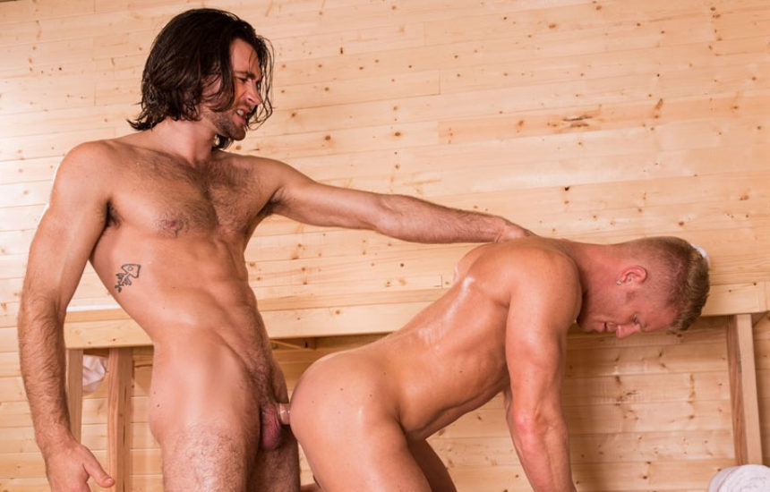 """Muscle bottom Johnny V takes Woody Fox's big dick in """"Bathhouse Ballers"""" part three"""