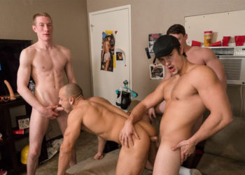 "Charlie Pattinson, Tobias, Kyle and Leon Lewis fuck in ""Beerback Fuck"" from Dick Dorm"