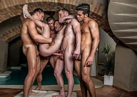 Brian Bonds takes four raw cocks in a bareback gang bang from Lucas Entertainment