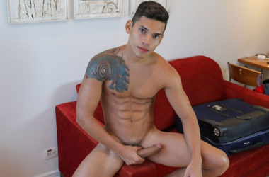 Dante shows off his lean and muscular body and jerks his big uncut dick