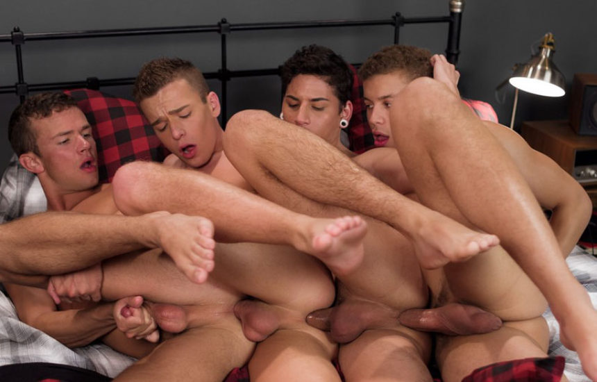 Logan Cross, Brad Chase, Aiden Garcia & Corbin Colby form a bareback fuck train