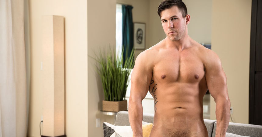 Beefy hunk Kyle Silver strokes his cock for Next Door Studios