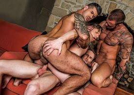 Marq Daniels, Adam Killian, Michael Roman and Brian Bonds in a bareback foursome
