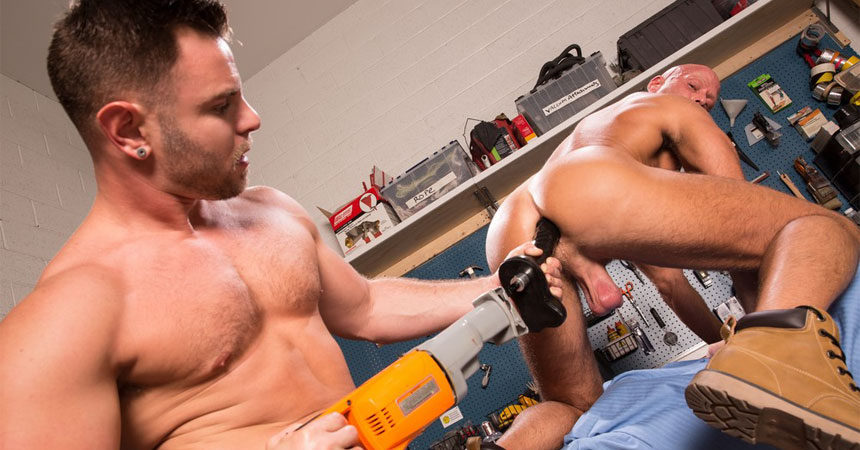 """Nick Sterling drills Coby Mitchell's ass in """"Dirty Work"""" part four from Hot House"""